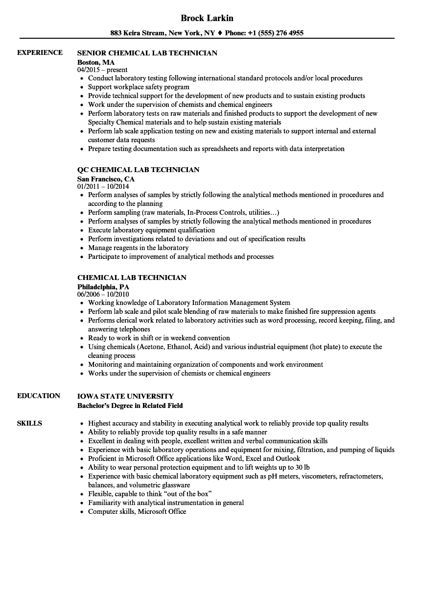 download chemical lab technician resume sample as image file - Chemical Technician Resume