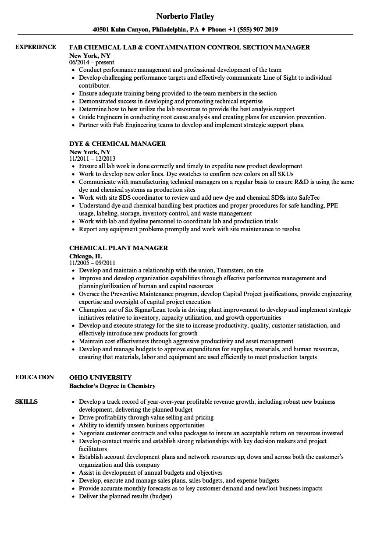 Chemical Manager Resume Samples Velvet Jobs