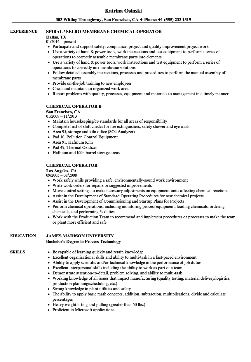 chemical operator resume samples