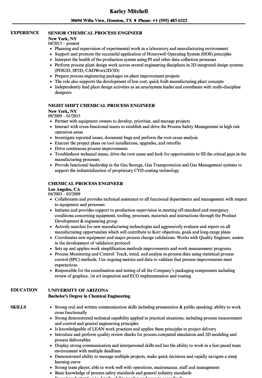 Chemical Process Engineer Resume Samples | Velvet Jobs