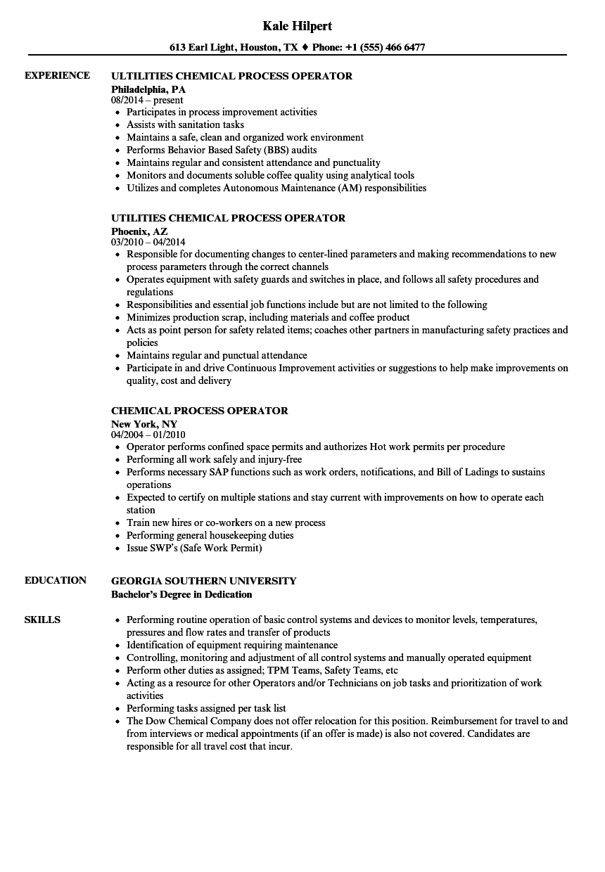 Download Chemical Process Operator Resume Sample As Image File