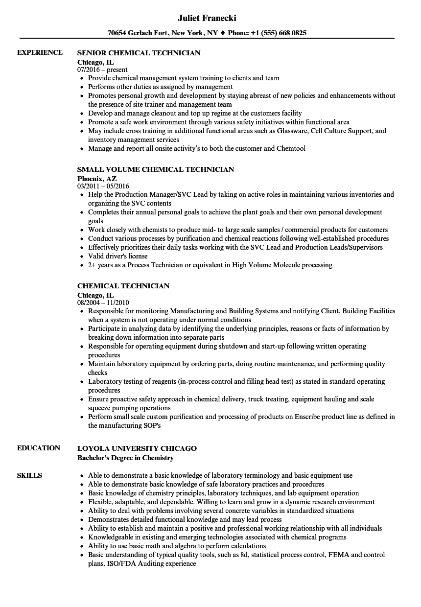 chemical technician resume samples
