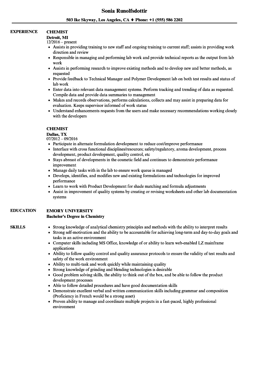 chemist resume samples velvet jobs