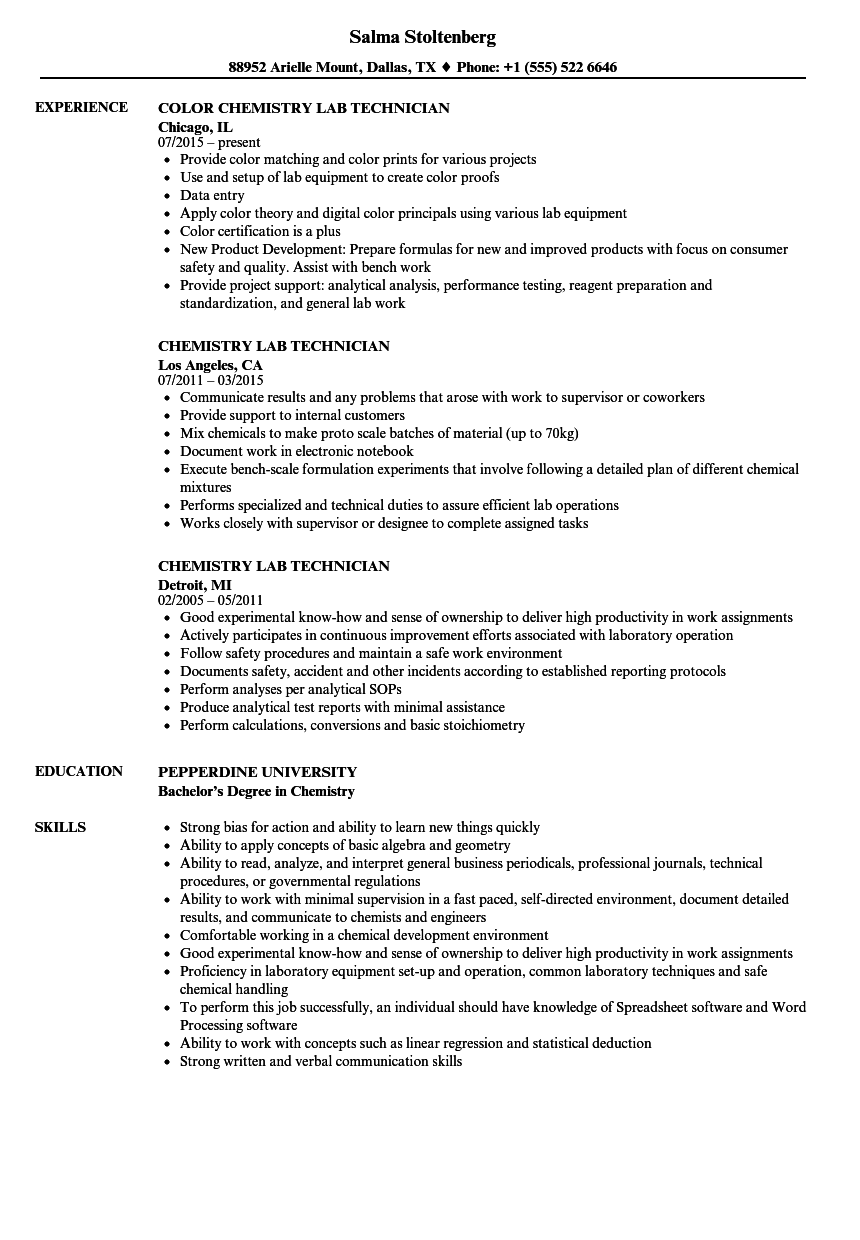 Chemistry Lab Technician Resume Samples | Velvet Jobs