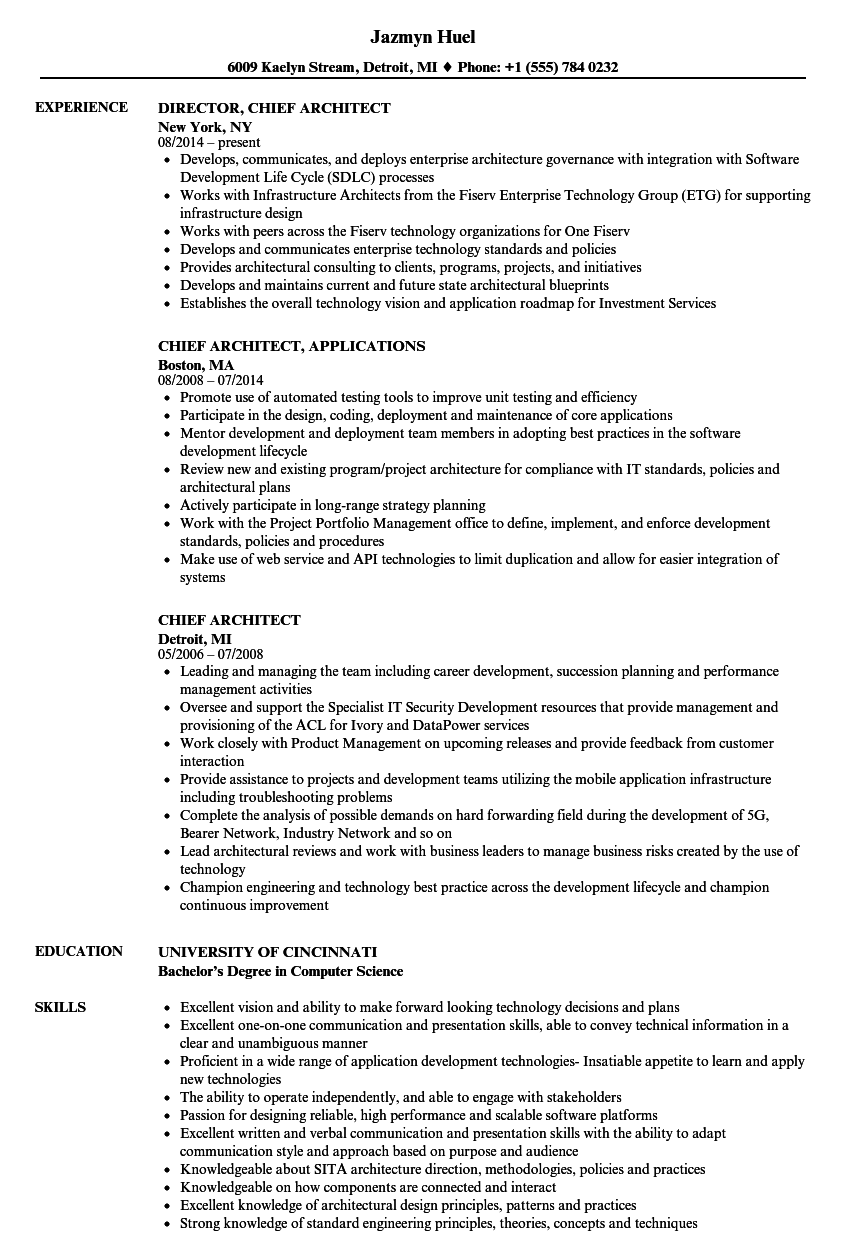 Chief Architect Resume Samples