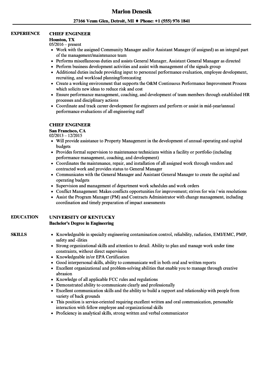 Chief Engineer Resume Samples Velvet Jobs