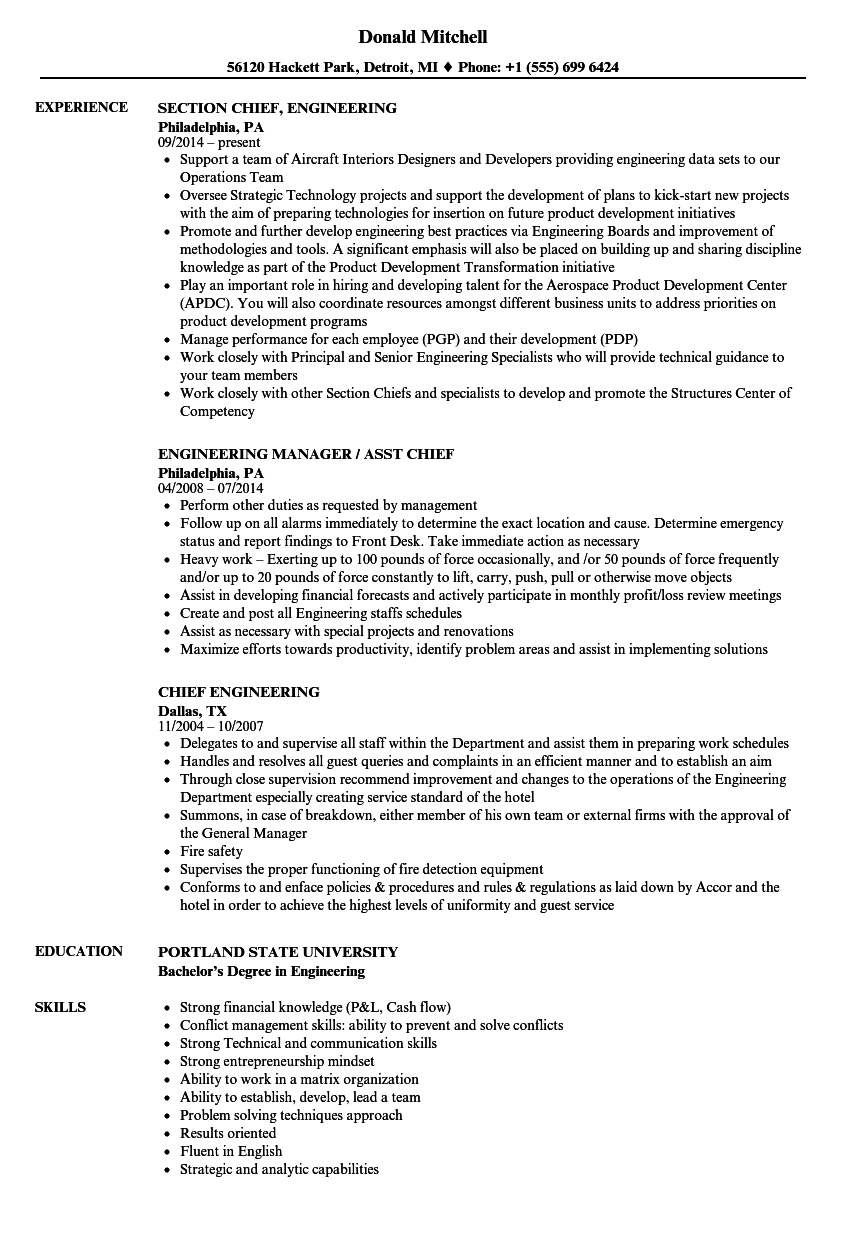 Chief Engineering Resume Samples | Velvet Jobs