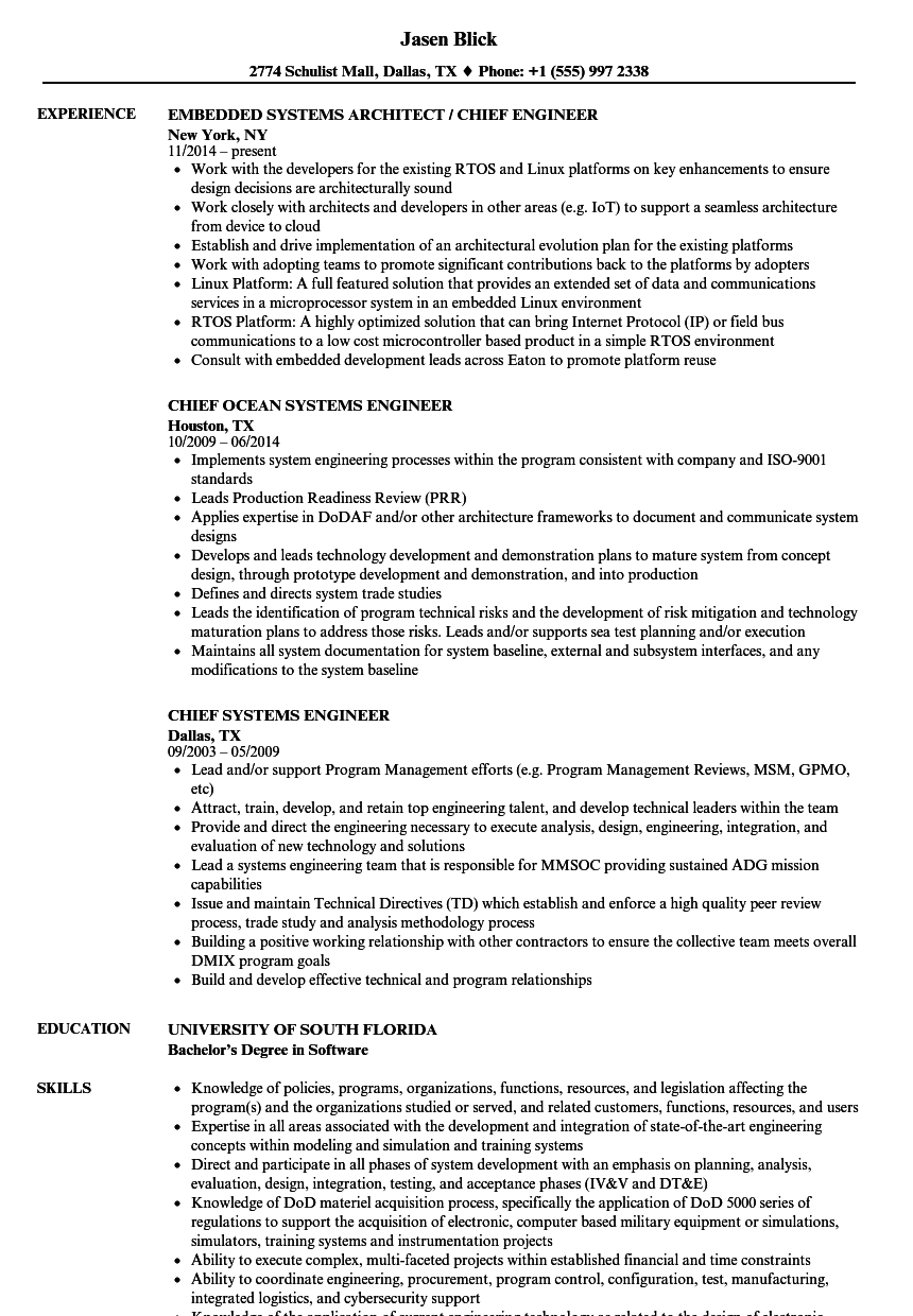 Chief Systems Engineer Resume Samples | Velvet Jobs