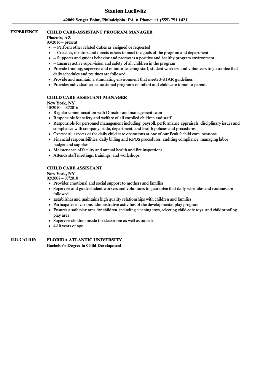 child care assistant resume samples