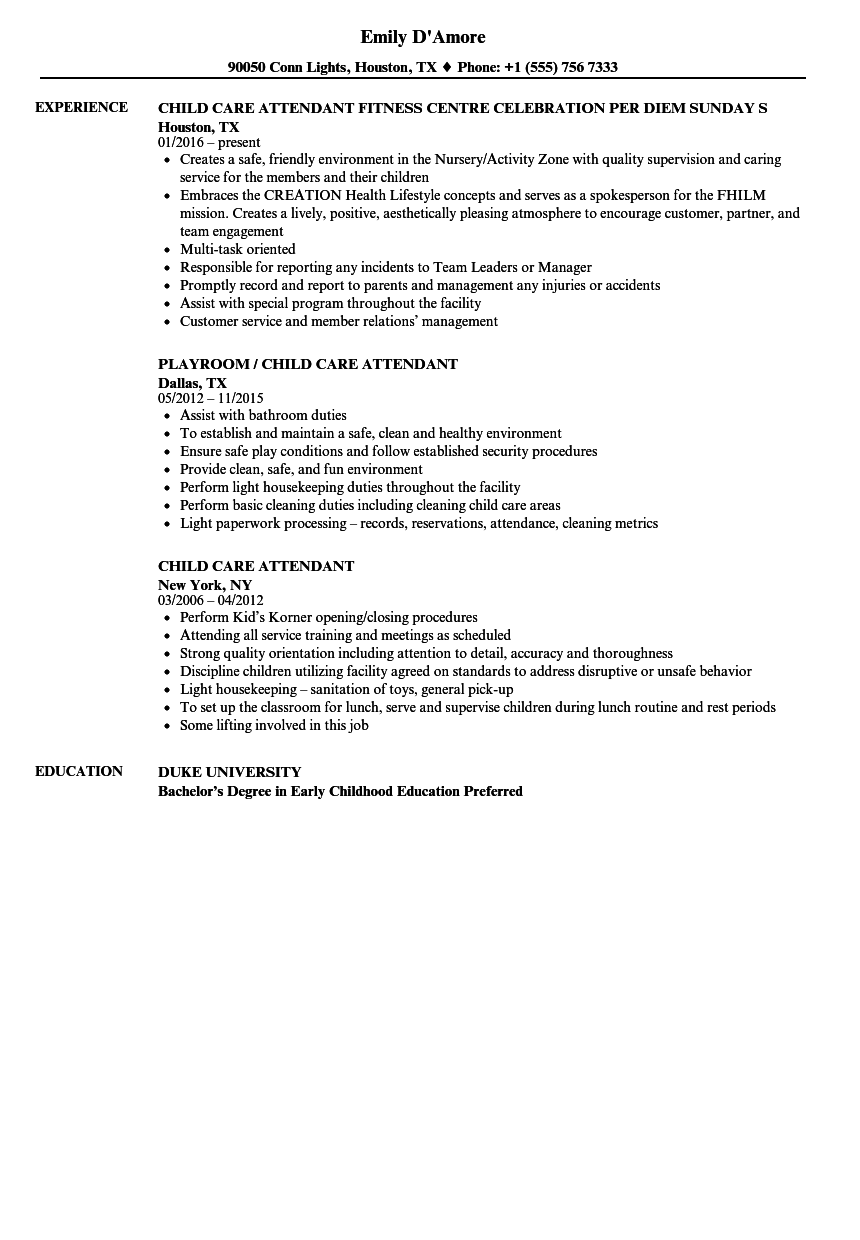 child care attendant resume samples