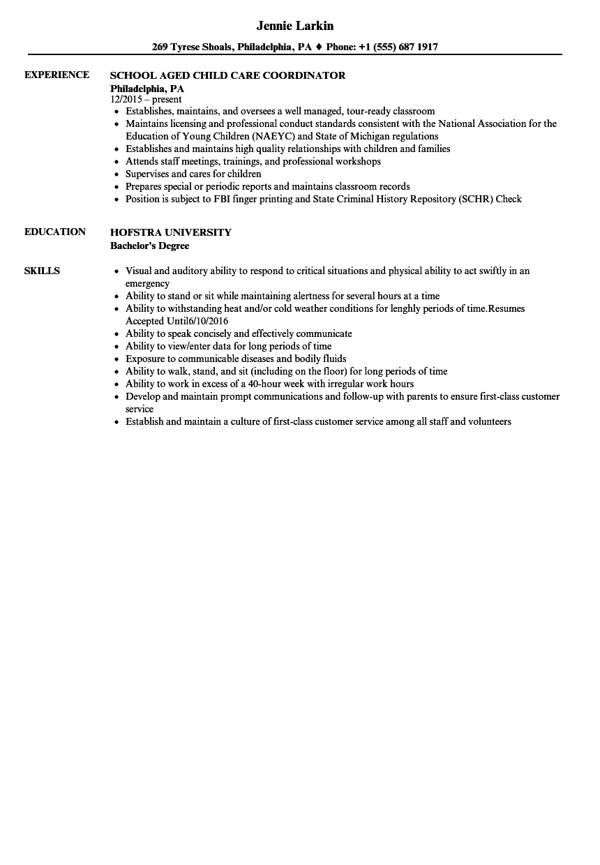 download child care coordinator resume sample as image file - Child Care Resume Sample