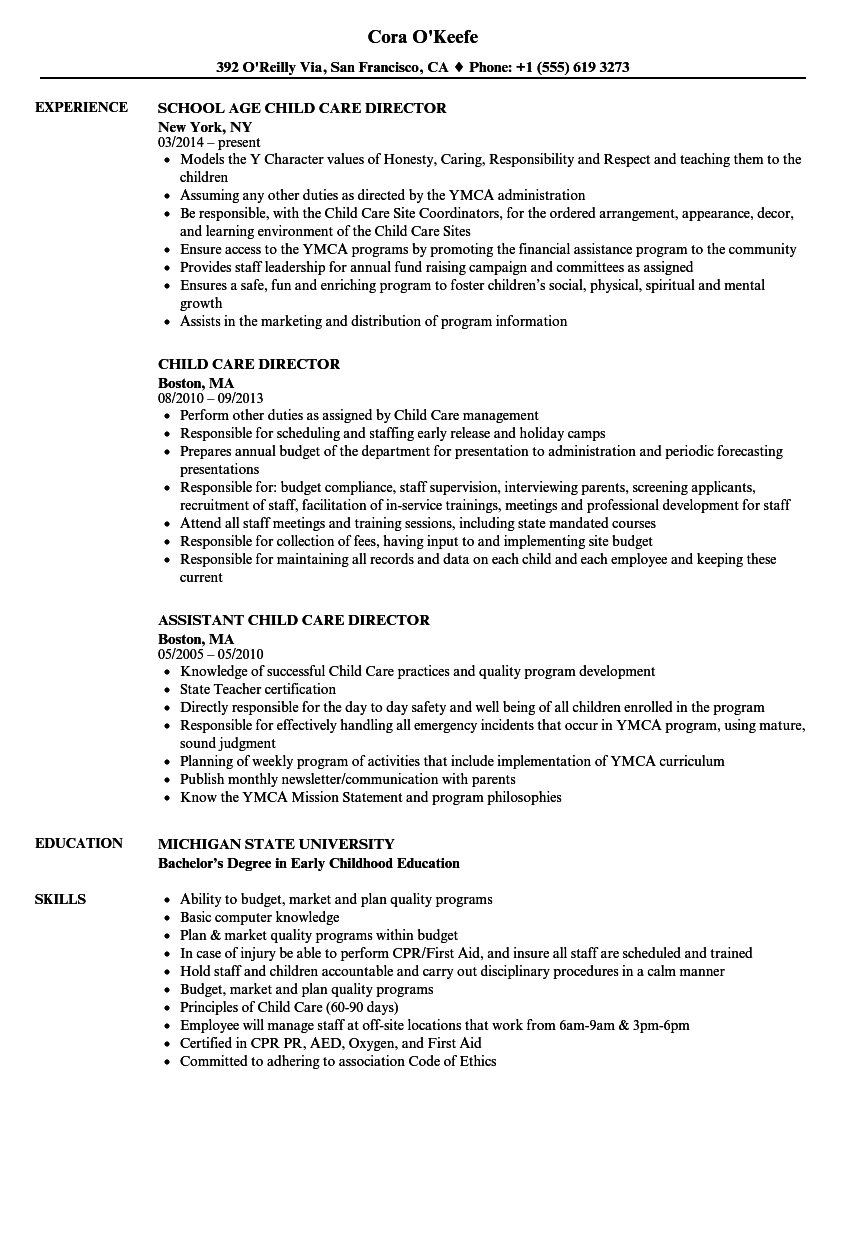 Child Care Director Resume Samples | Velvet Jobs