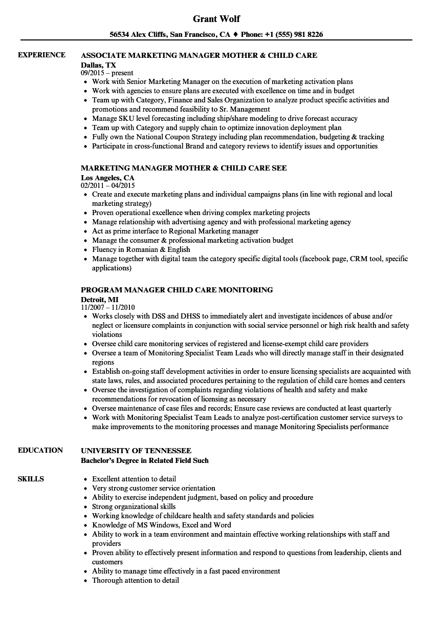 Child Care Manager Resume Samples Velvet Jobs