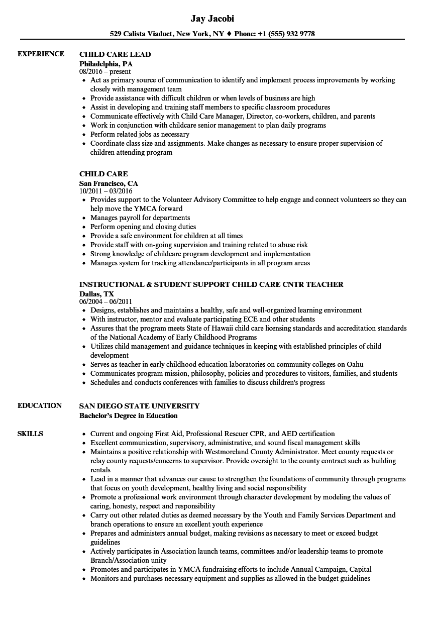 Child Care Resume Samples Velvet Jobs