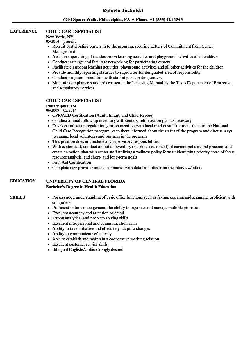 child care specialist resume samples