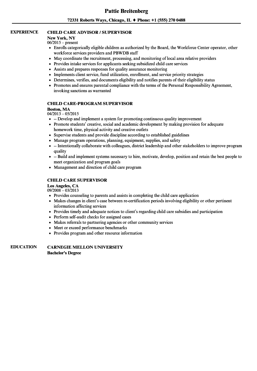 Child Care Supervisor Resume Samples | Velvet Jobs