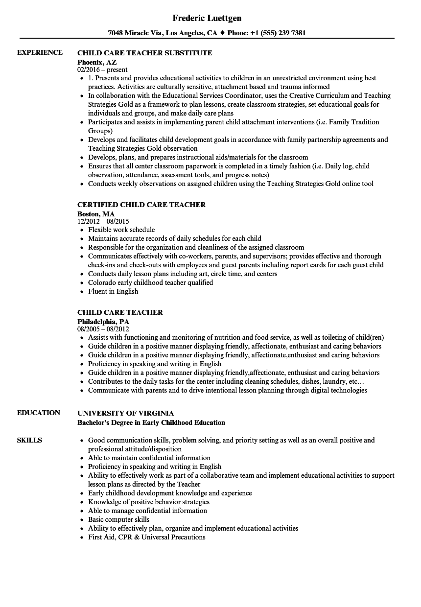 Child Care Teacher Resume Samples | Velvet Jobs