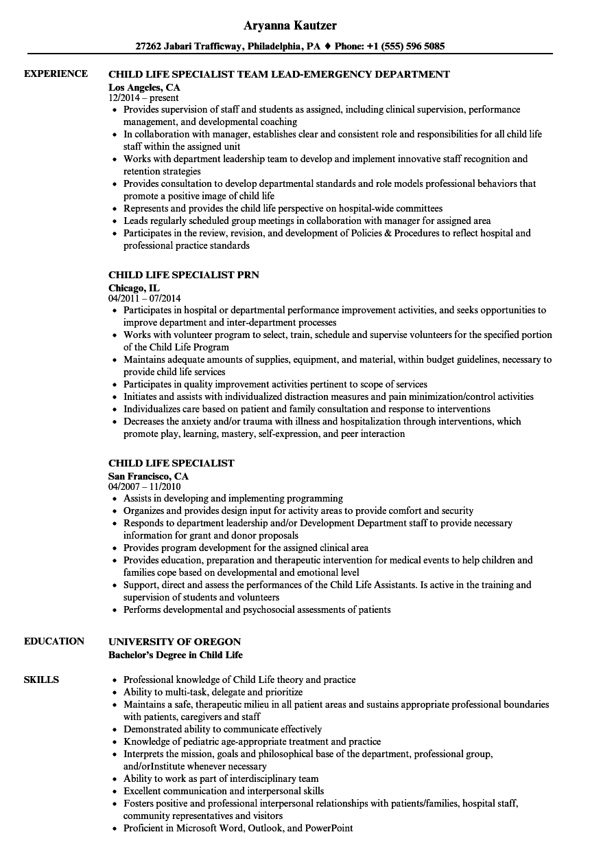 Child Life Specialist Resume Samples Velvet Jobs