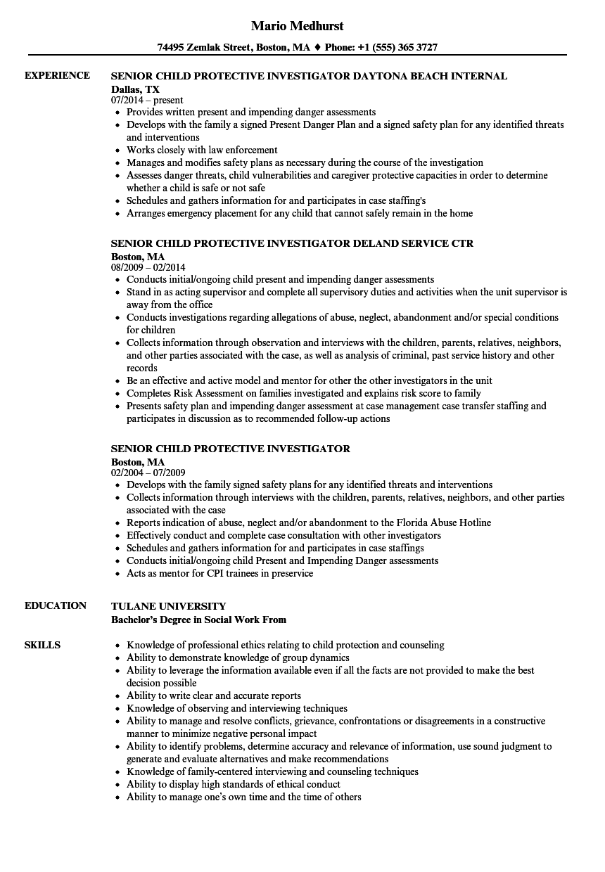 child protective investigator resume samples
