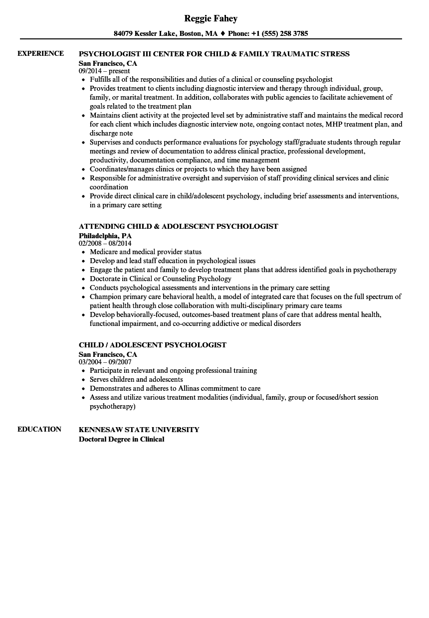 Download Child Psychologist Resume Sample As Image File  Psychology Resume Examples
