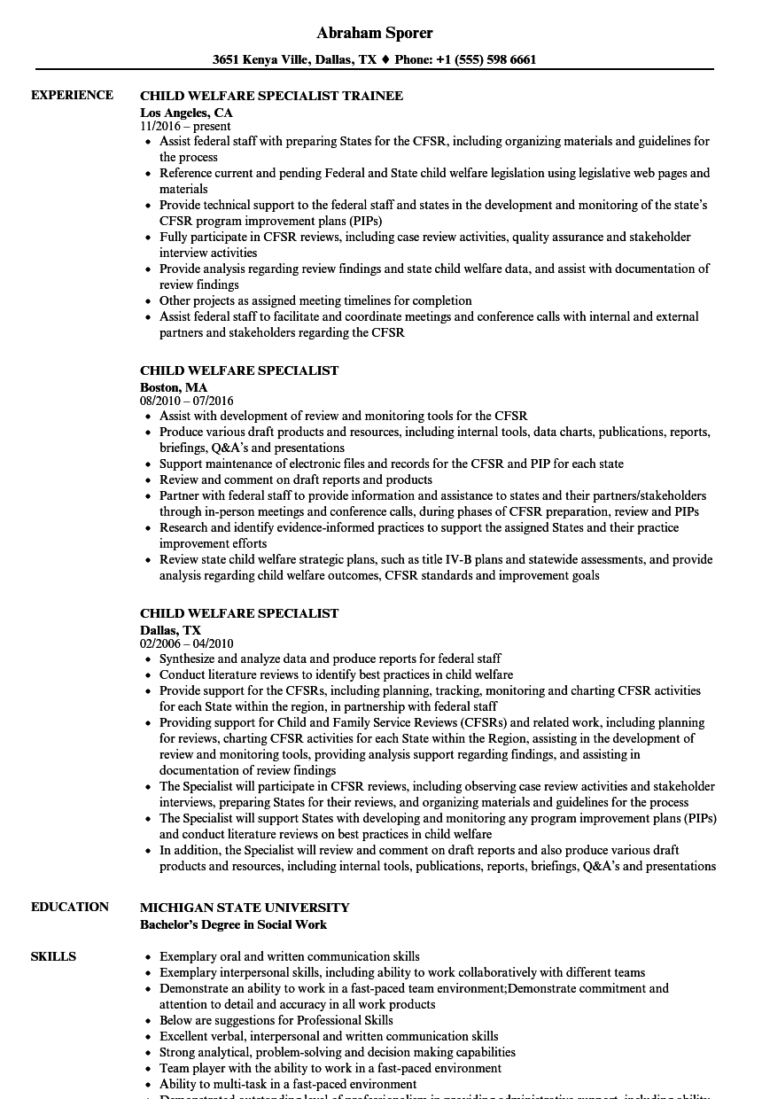 child welfare specialist resume samples