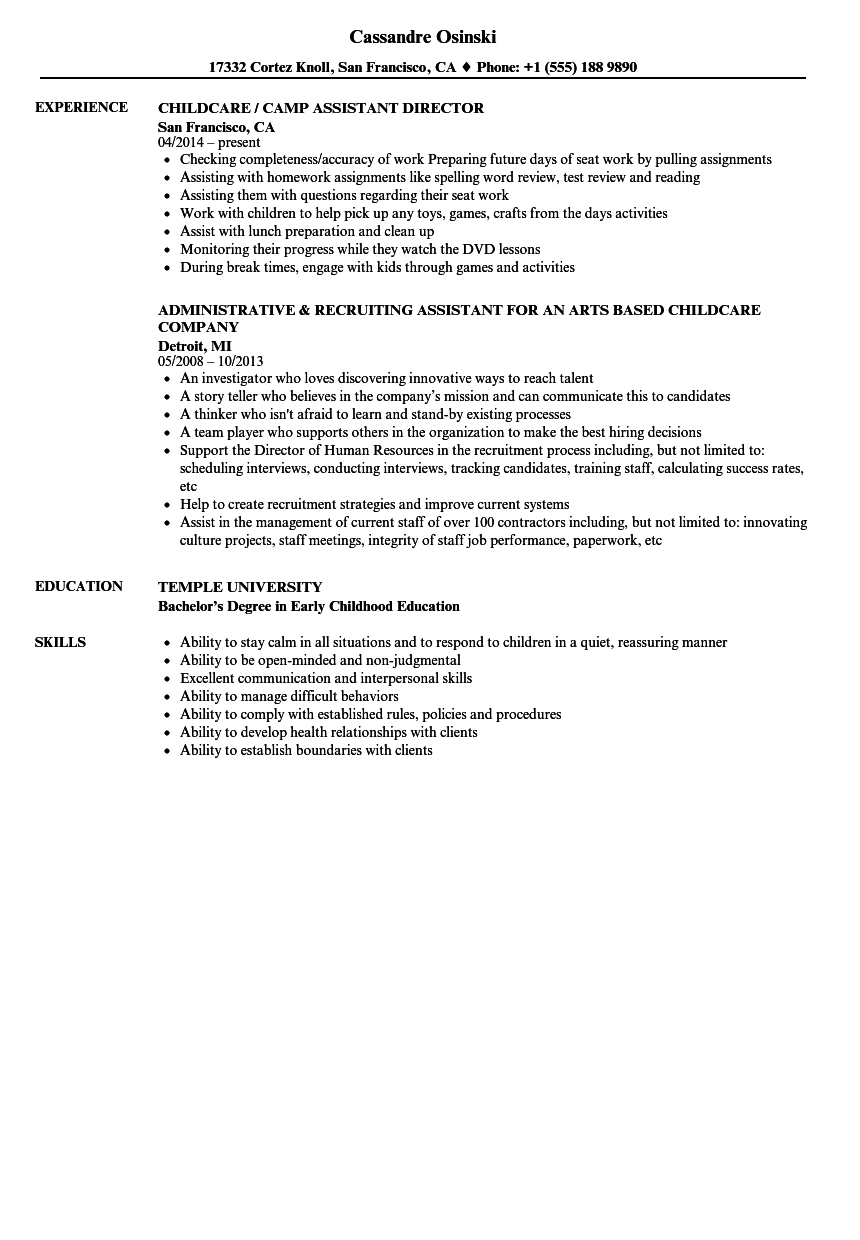 Childcare Assistant Resume Samples | Velvet Jobs