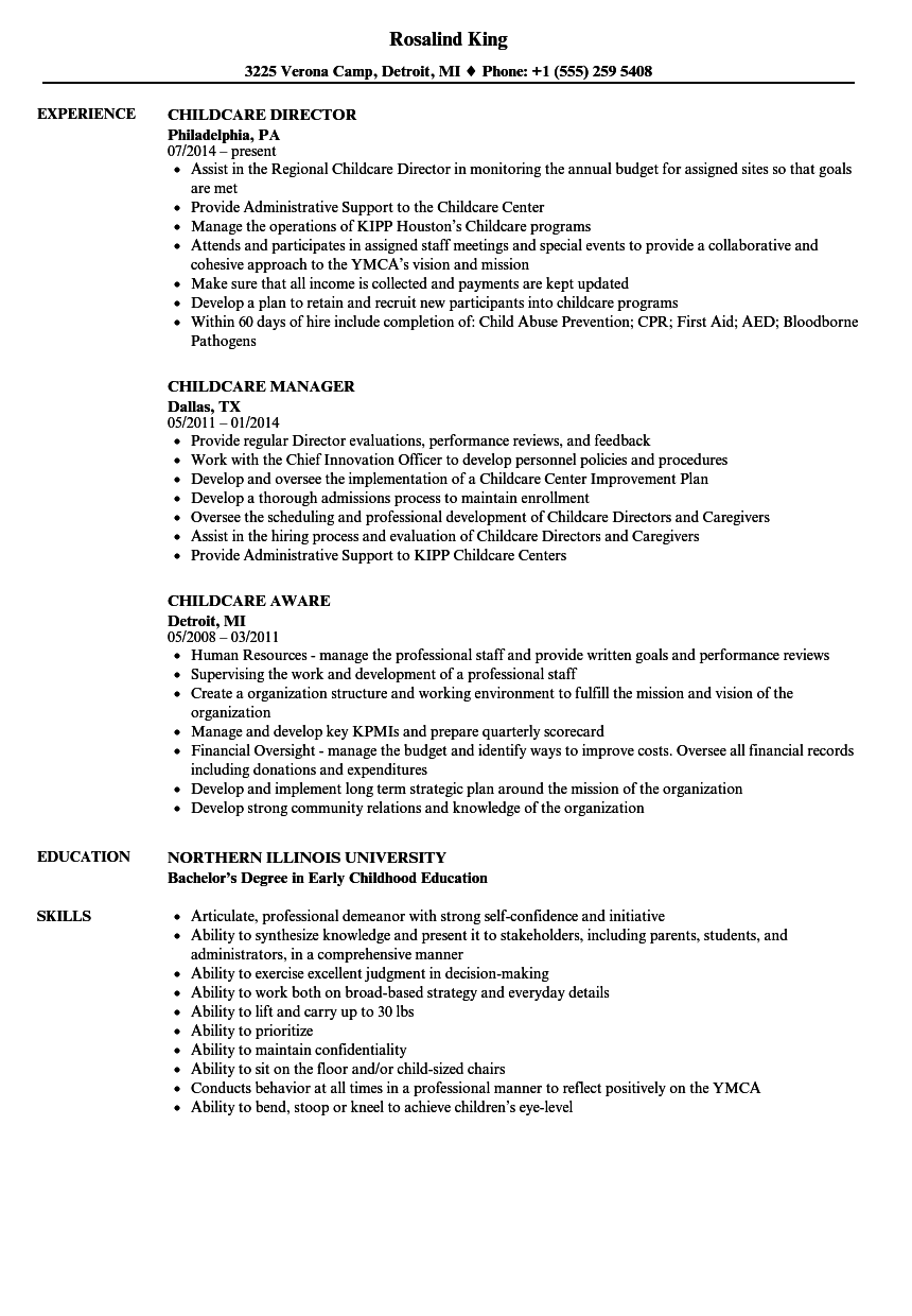 childcare resume samples