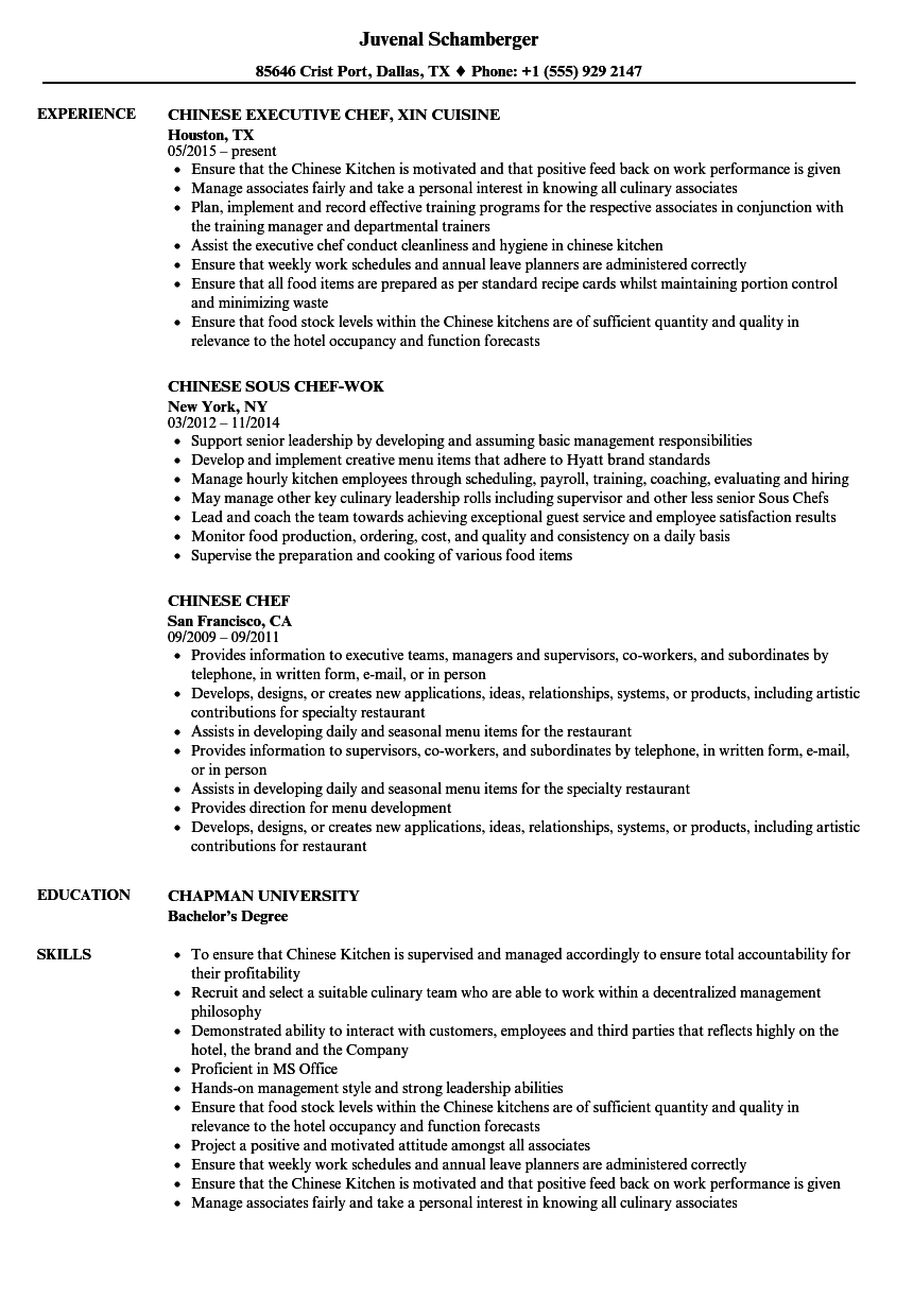 chinese chef resume samples