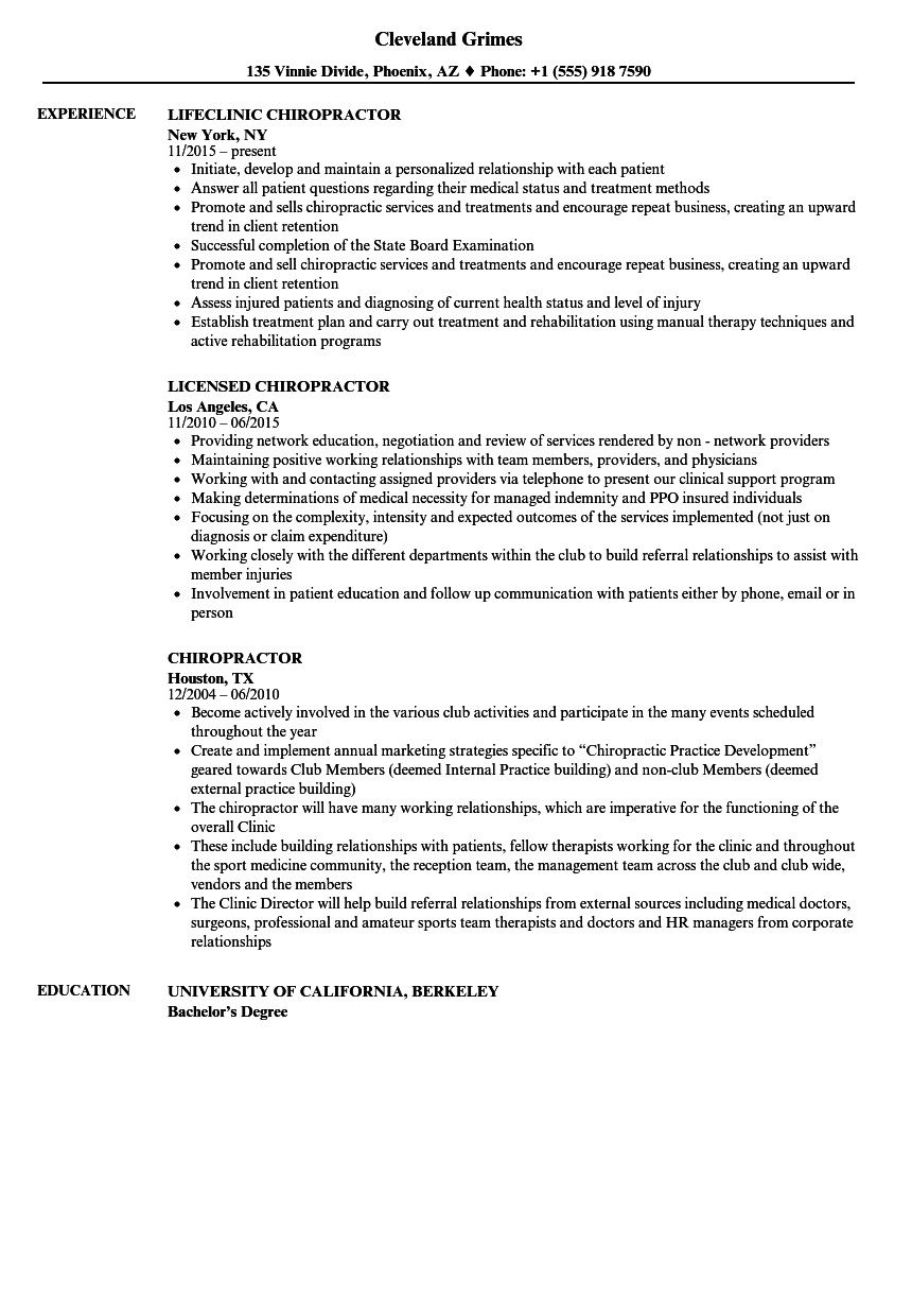 chiropractor resume samples velvet jobs