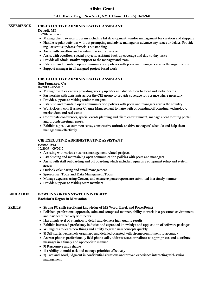 Cib Executive Administrative Assistant Resume Samples Velvet Jobs