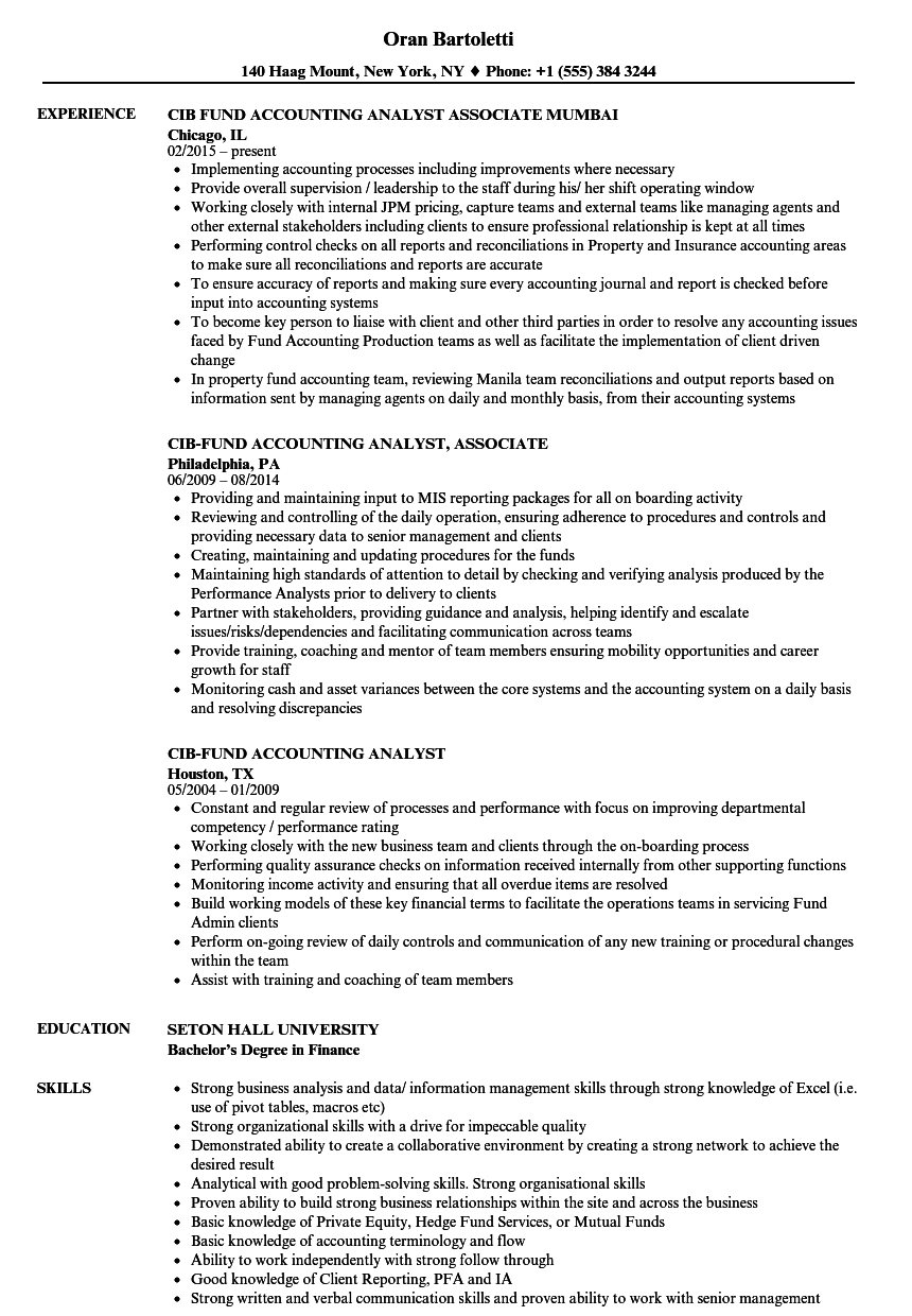 Cib-fund Accounting Analyst Resume Samples | Velvet Jobs