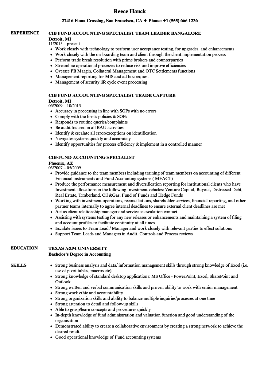 Cib-fund Accounting Specialist Resume Samples | Velvet Jobs