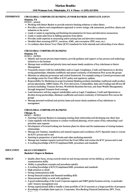 Cib Global Corporate Banking Resume Samples Velvet Jobs