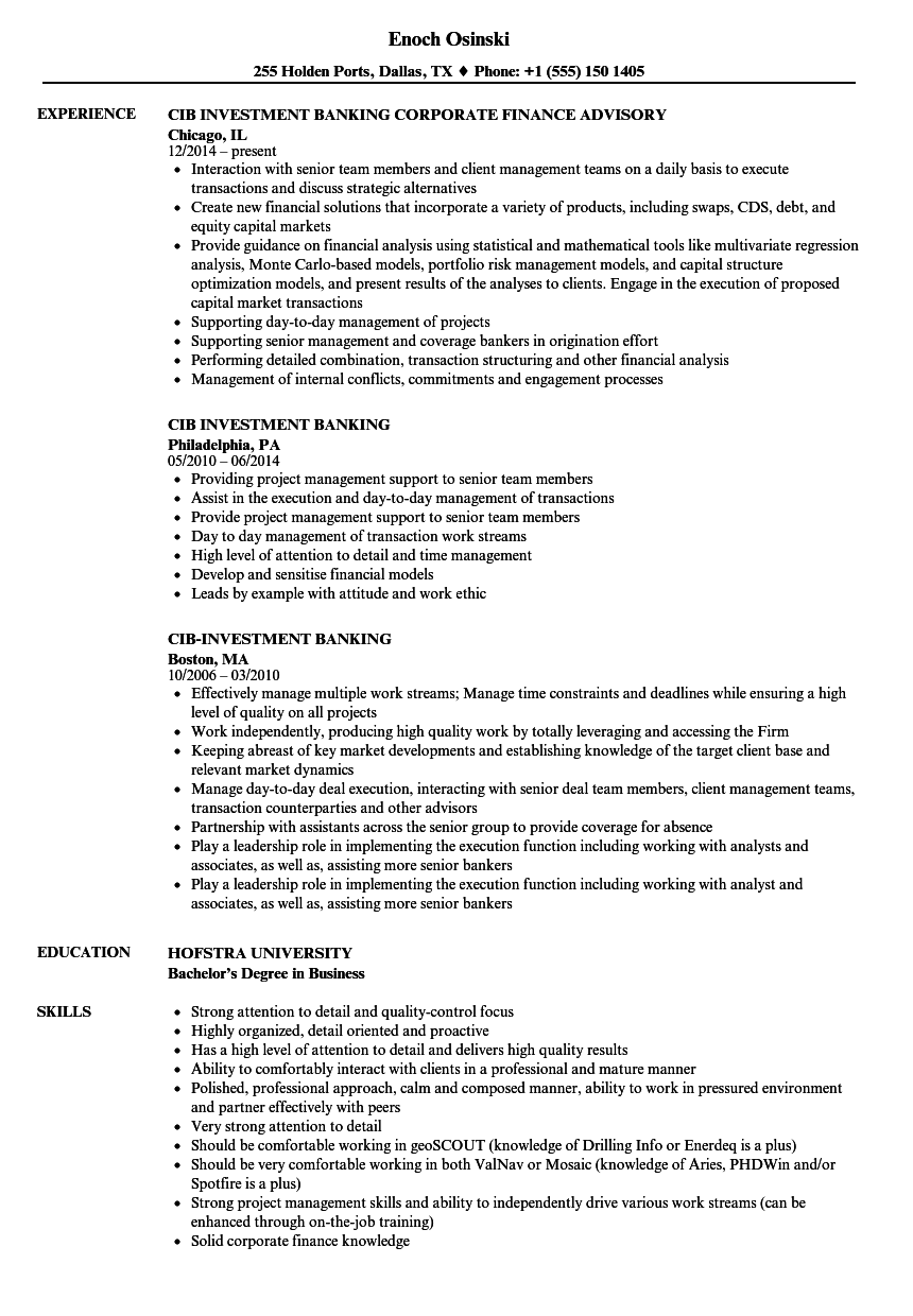 resume Investment Banking Analyst Resume cib investment banking resume samples velvet jobs download sample as image file