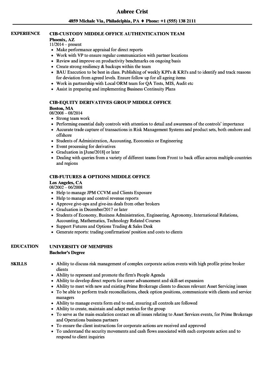 cib middle office resume samples velvet jobs