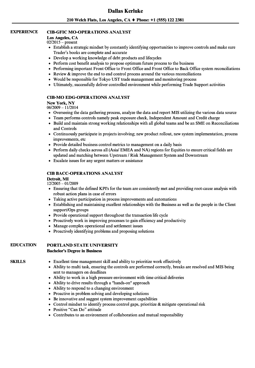 cib operations analyst resume samples