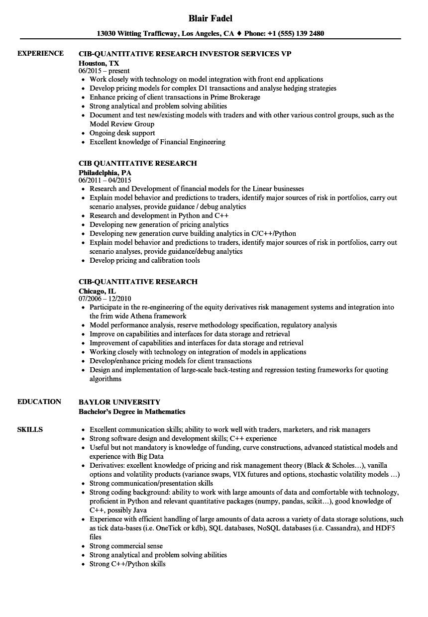 download cib quantitative research resume sample as image file - Computer Science Research Resume