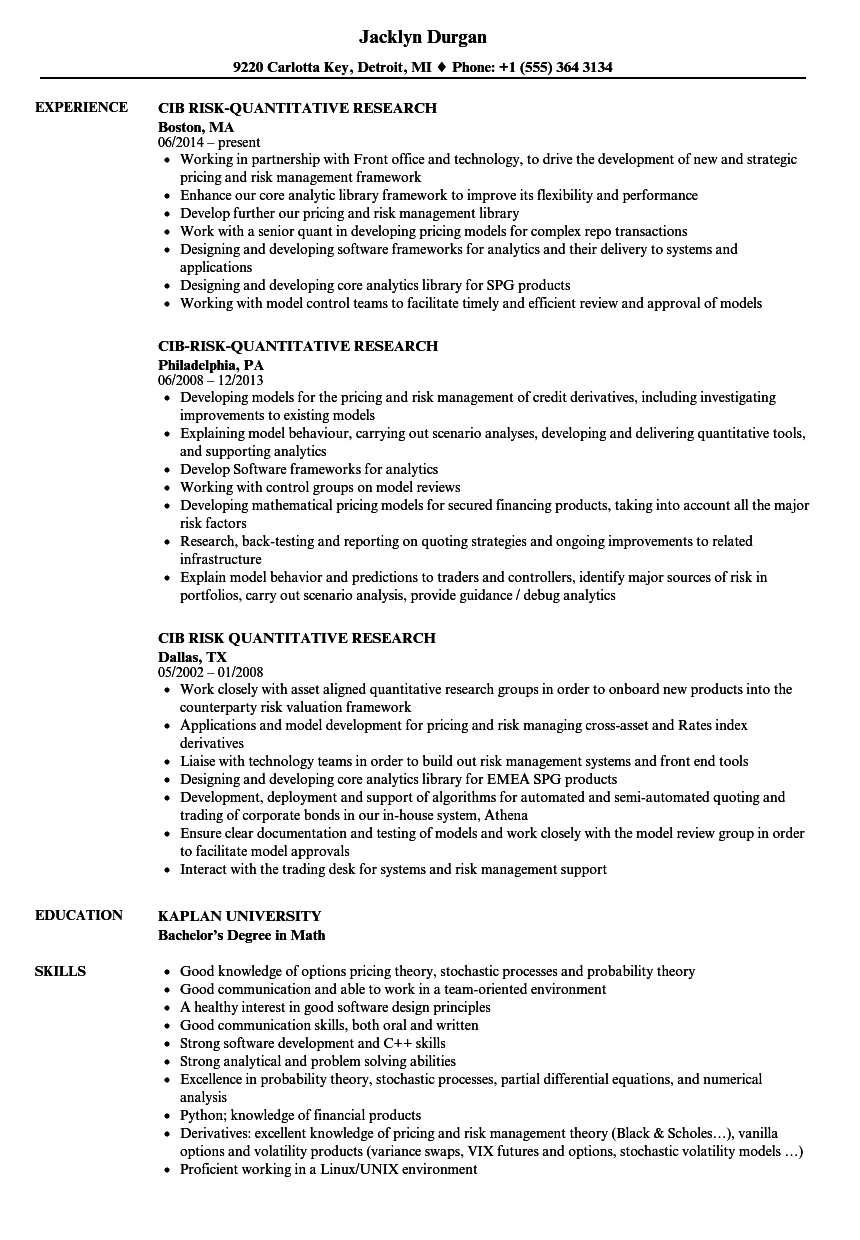 CIB Risk-quantitative Research Resume Samples | Velvet Jobs