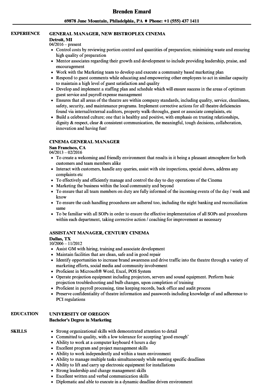 Cinema Manager Resume Samples | Velvet Jobs