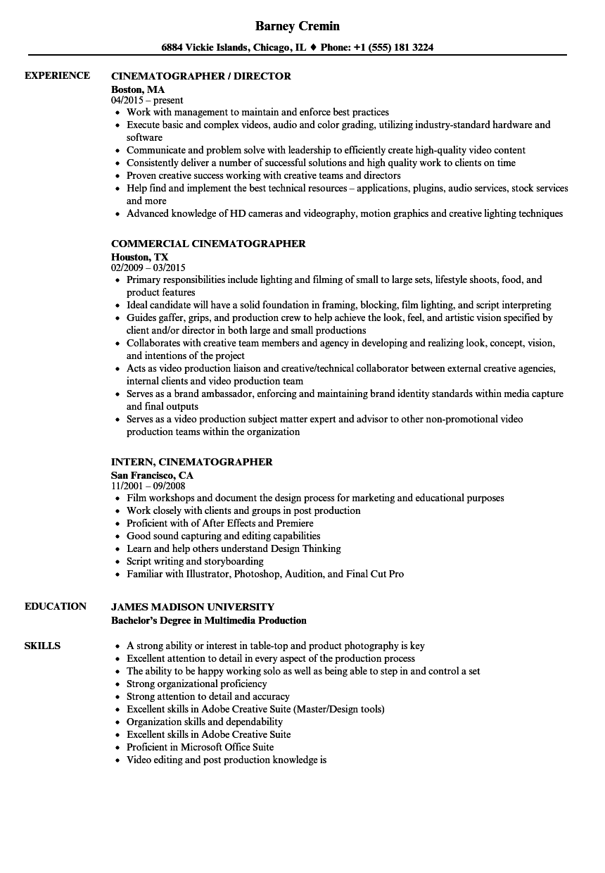 Download Cinematographer Resume Sample As Image File
