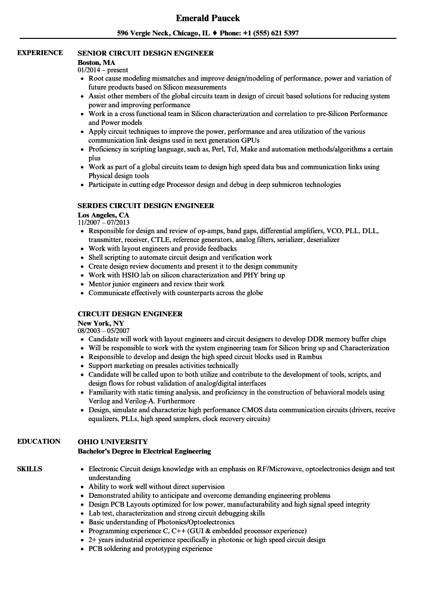 Circuit Design Engineer Resume Samples Velvet Jobs