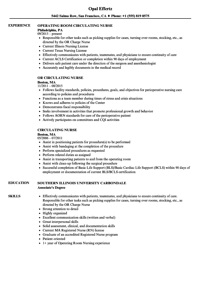 Circulating Nurse Resume Samples
