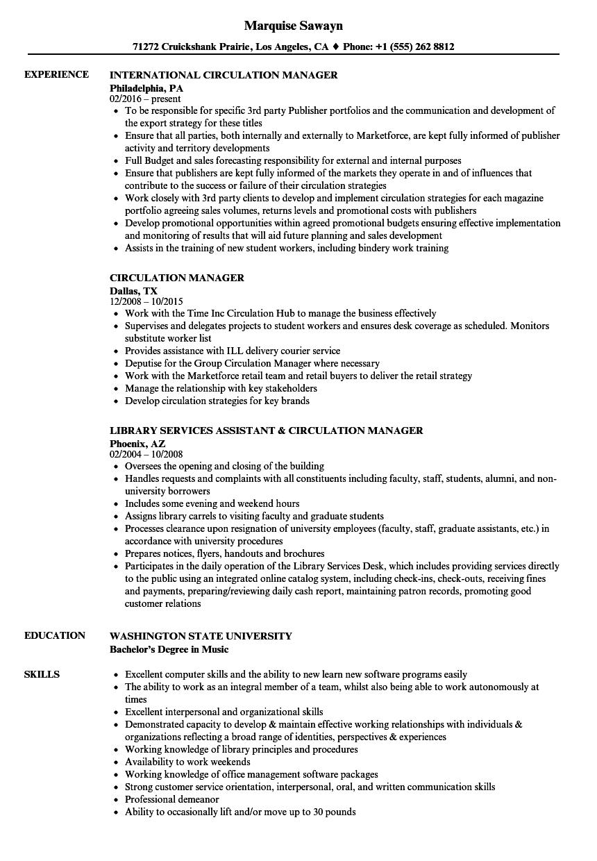 Circulation Manager Resume Samples | Velvet Jobs