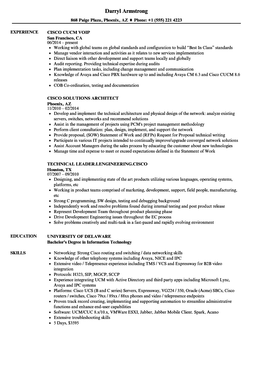 cisco resume samples