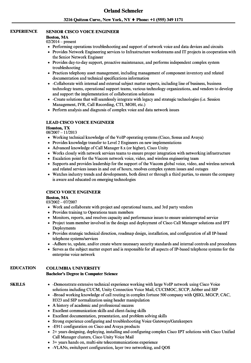 Cisco Voice Engineer Resume Samples Velvet Jobs