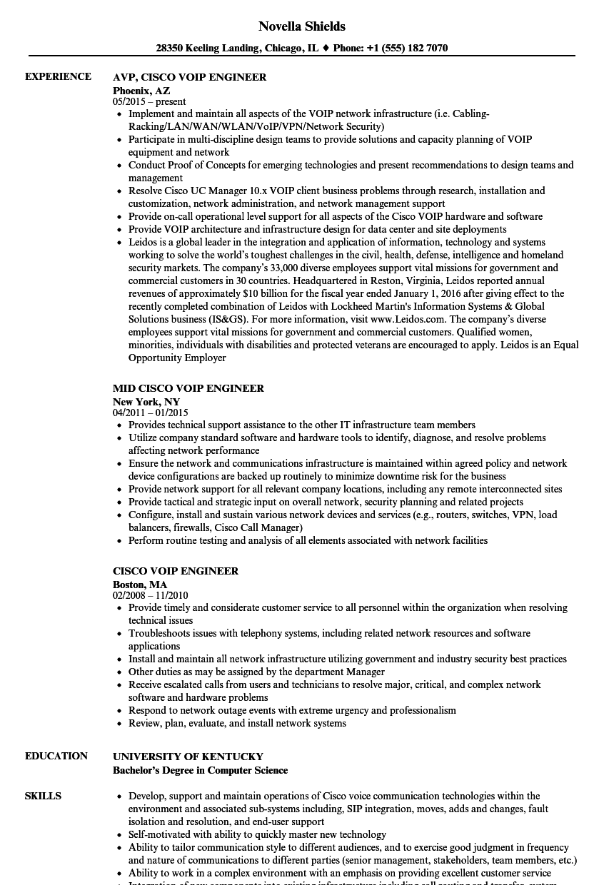 Cisco Voip Engineer Resume Samples | Velvet Jobs