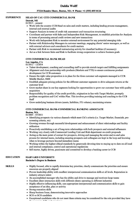 Citi Commercial Bank Resume Samples Velvet Jobs