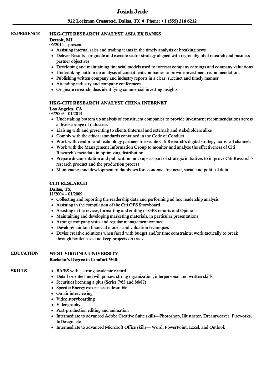 citi research resume samples