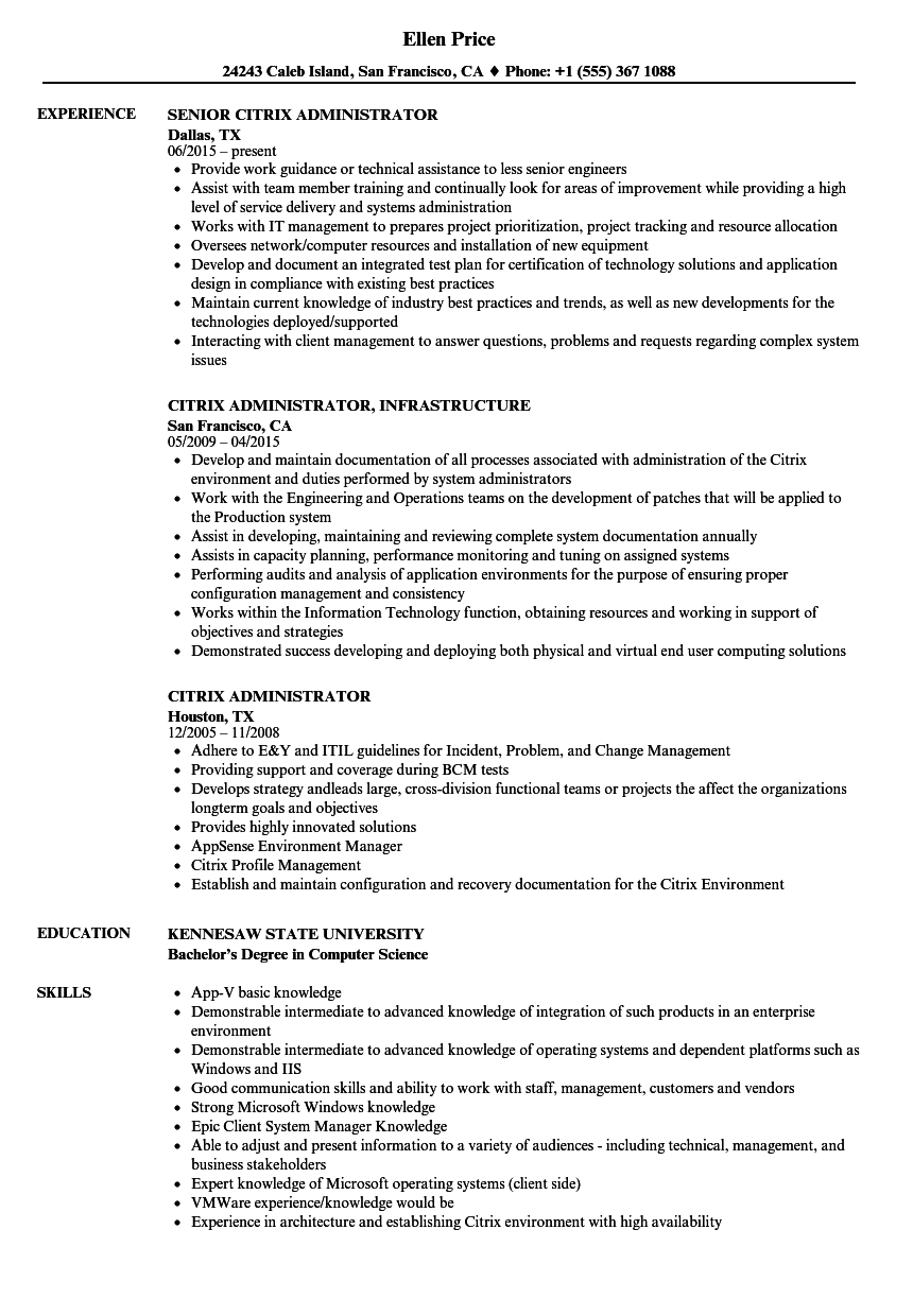 Citrix Administrator Resume Samples | Velvet Jobs