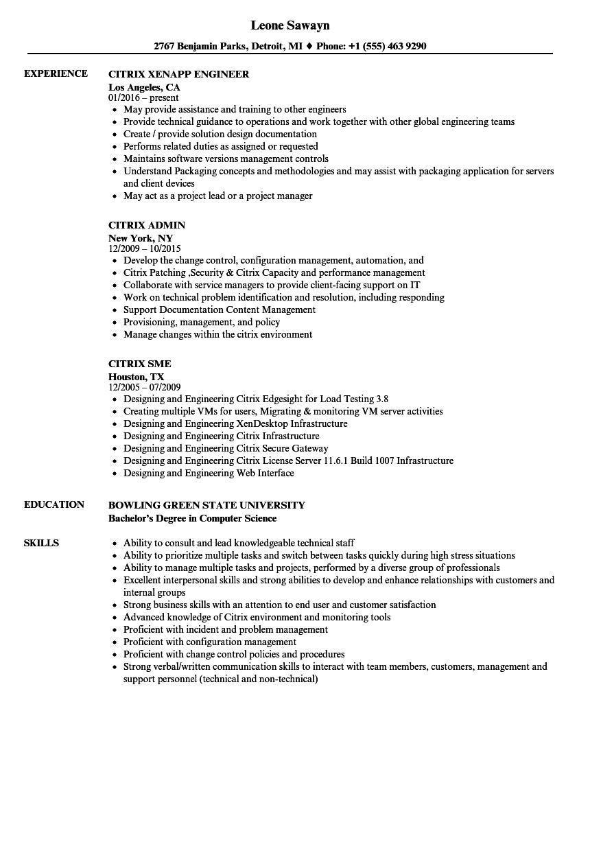 citrix resume samples